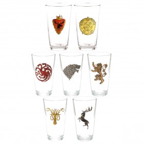 Game of Thrones Distressed House Sigil Pint Glasses [Set of 7]